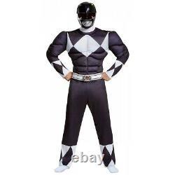 Black Ranger Muscle Costume Power Rangers Halloween Fancy Dress