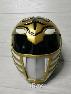 Custom Cosplay White Ranger Helmet with Lights Tommy Mighty Morphin Power MMPR
