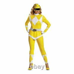 Diguise Power Rangers Yellow Adult Cosplay Sexy Morphin Halloween Costume 67364