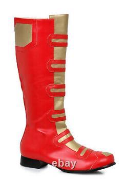 Ellie 121-POWER Men's Red Gold Power Ranger Cosplay Spiderman Costume Knee Boots