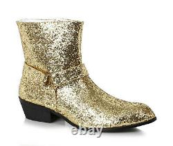 Ellie 129-FEVER Men's Gold Glitter Disco Funk Cowboy County Costume Ankle Boot