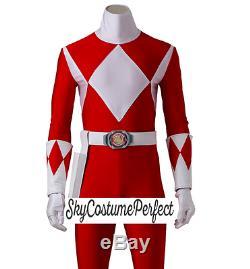 FREE WW SHIP Mighty Morphin Power Ranger Red Tyrannosaurus Costume Cosplay SET