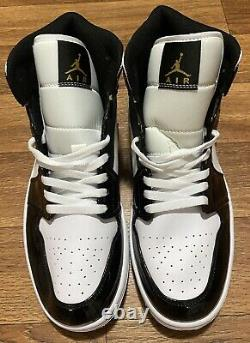 Mens/Air Jordan 1 Retro Mid Patent/Black Gold/Sz 11