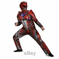Mens DELUXE Mighty Morphin Red Power Ranger Movie Suit Mask Cosplay Costume M XL