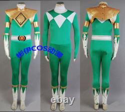 Mighty Morphin Power Ranger Burai Zyurange Green Cosplay Costume