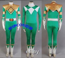 Mighty Morphin Power Ranger Burai Zyurange Green Cosplay Costume Any Size