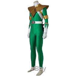 Mighty Morphin Power Rangers Green Dragon Ranger Uniform Costume Cosplay Suit
