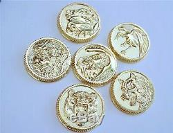 Ninja Ninjetti Set of 6-Gold Power Coins Made For Legacy Morpher Prop Cosplay