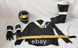 Ninja Sentai Kakuranger Ninja Black Helmet Gloves Belt Boot Suit Cosplay 1994