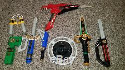 Original 90's Mighty Morphin Power Rangers Bandai Cosplay Weapons Lot Gun Dagger
