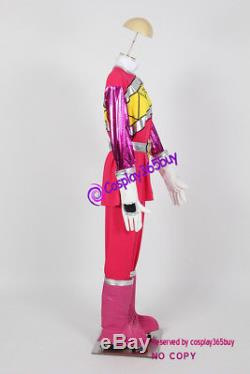Power Rangers Dino Charge Kyoryuger Pink Ranger Cosplay Costume incl. Boots cover