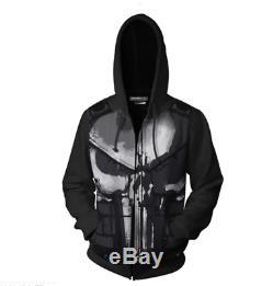 Punisher 3D printing Cosplay Hoodie Sweatshirt Zip up Jacket Coat Costume