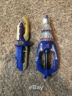 RARE Beetleborgs Blue Stinger Drill & Gold Dagger Cosplay Vintage Bandai