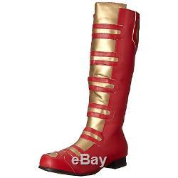 Red Gold Knee High Boots Halloween Power Ranger Superhero Mens Cosplay Costume