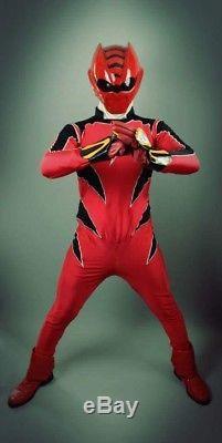 Red Power Rangers Super Sentai Costume Cosplay Suit Helmet