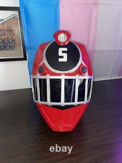 Ressha Sentai ToQger #5 Red Ranger Helmet With Working Light Cosplay FAN MADE