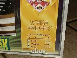 VTG 1995 MMPR Power Rangers White Ranger Costume COSPLAY KIDS LARGE original box