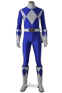 ZYURANGER Mighty Morphin Power Ranger Blue Ninja Ranger Cosplay Jumpsuit